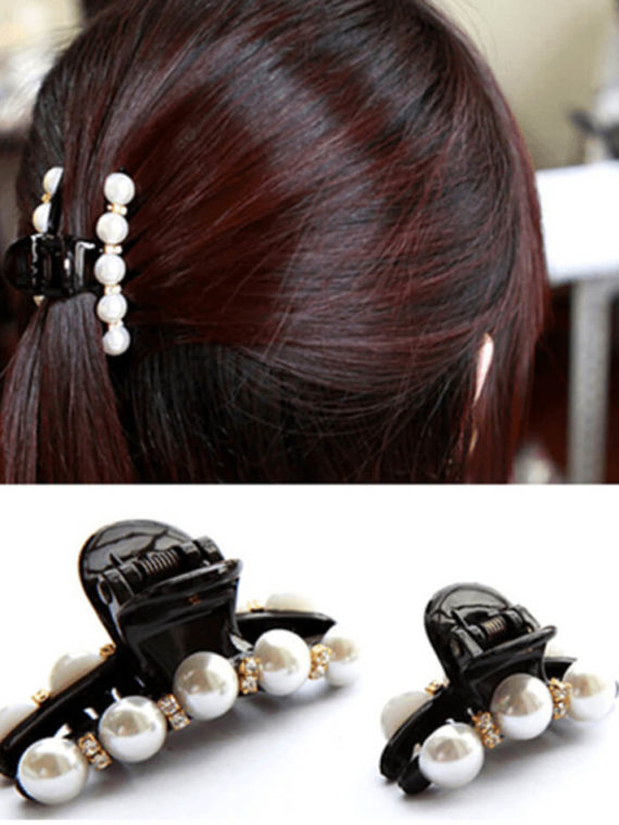 2 Pcs ( 1L + 1S ) Women's Pearl Hair Claw