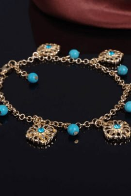 2 Pcs Turquoise Bohemian Ankle Jewelry