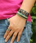 3 Pcs Unisex Cross Leather Bracelet Set