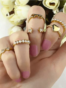 6 Pcs Gold Plated Midi Rings