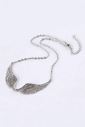 Angel Feather Wing Necklace Silver Tone