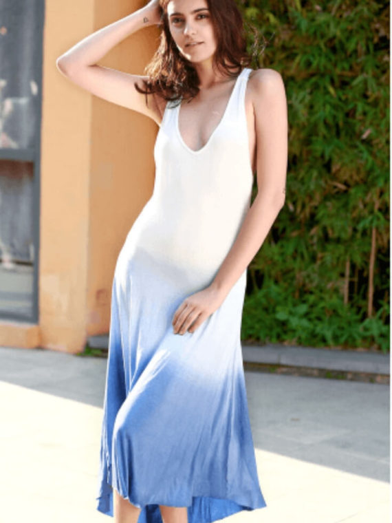 Asymmetrical Sexy V-Neck Backless Long Maxi Dress