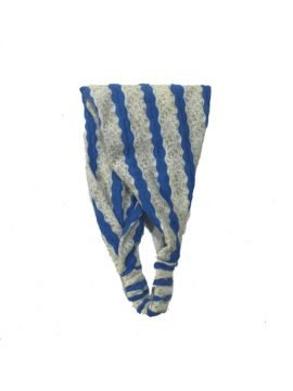 Bandana Headband Blue Gold Lace Stripes