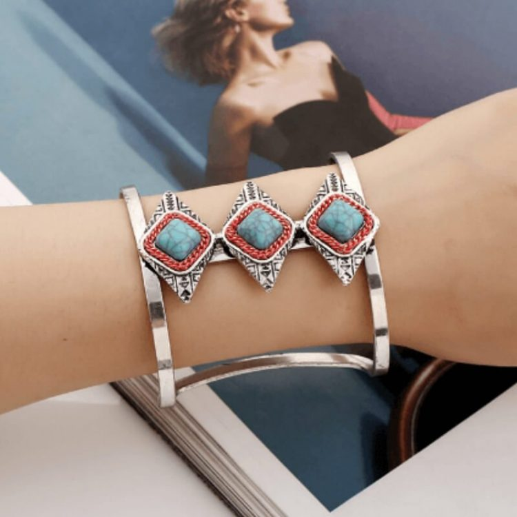 Bangle Bracelet Turquoise Silver Wide Cuff Jewelry