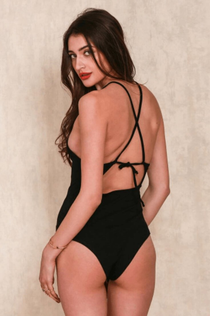 Black Bodysuit Criss Cross Spaghetti Strap