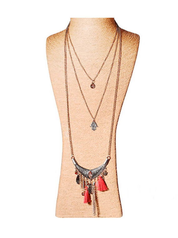 Bronze Tone Layered Tassel Necklace