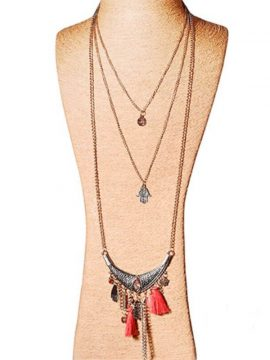 Bronze Tone Layered Tassel Necklacejpg