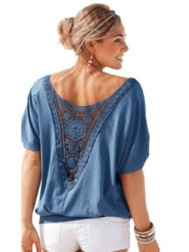 Crochet Applique Tee Back Short Sleeve Blouse