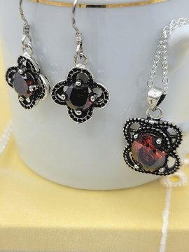 Crystal Flower Necklace Earrings Set