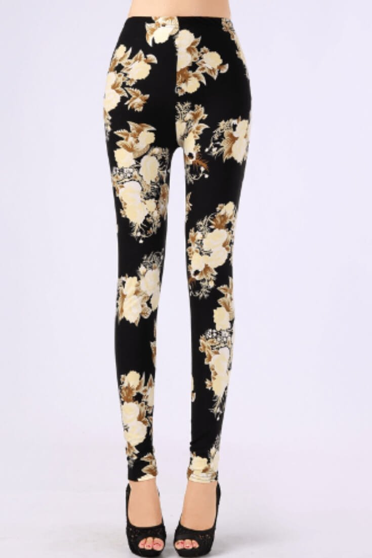 Floral Print Leggings High Waisted