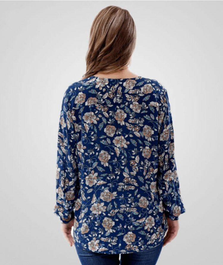 Floral Tops V-Neck Long Sleeve Blouse