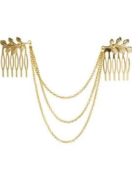 Hair Chain Gold Tone Leaf Hair Comb