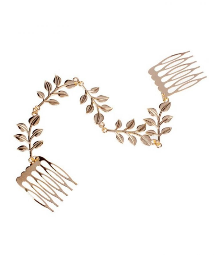 Hair Comb Accessories Metal Leaves Chain