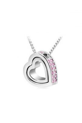 Heart Necklace Silver Tone Metal