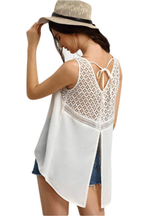 Lace Top Crochet Trim Split Back Blouse