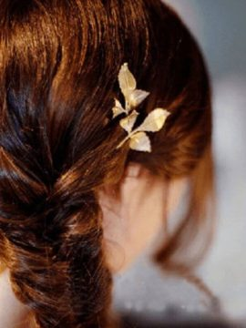 Leaf Hairpin Gold Tone Hair Jewelry ( 3 Pcs )