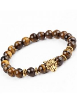 Leopard Head Bracelet Natural Stone Beads