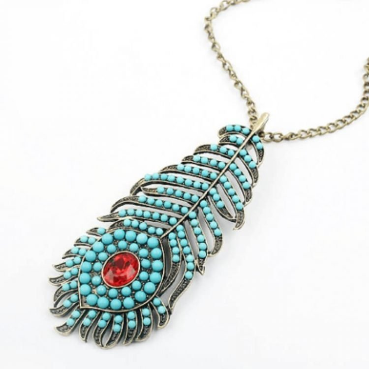 Peacock Feather Necklace Turquoise Bead Spots