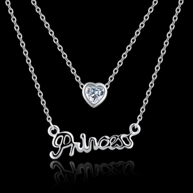 Princess Necklace Crystal Heart Pendant