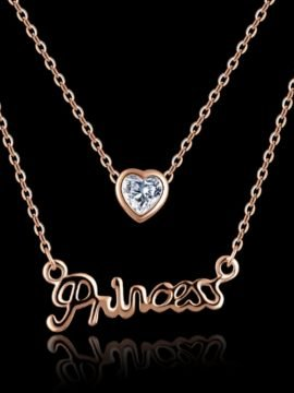 Princess Necklace Crystal Heart Pendant 2