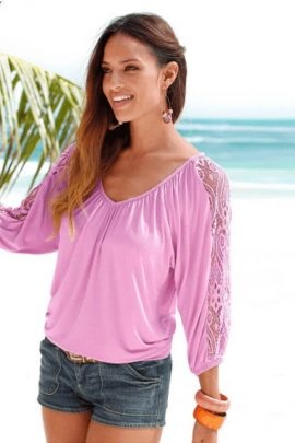 Three Quarter Sleeve Top Relaxed Fit Blouse