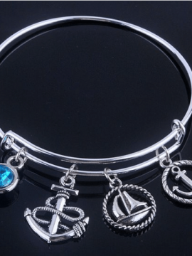 Anchor Charm Bracelet Silver Tone Bangle
