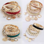 Bangle Bracelet Set Faux Pearls Coins
