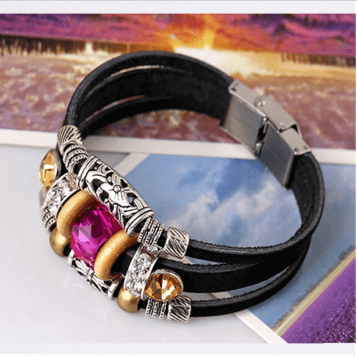 Beaded Multi Strand Leather Bracelet