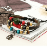 Beaded Wristbands Leather Charm Bracelets