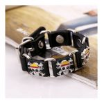 Belt Buckle Bracelet Metallic Skull Accent