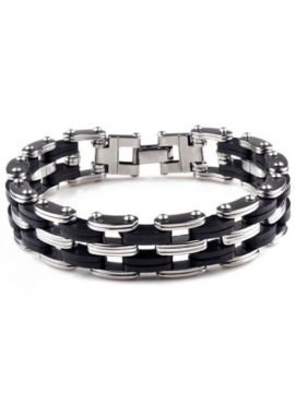 Biker Chain Bracelet Stainless Steel Accents