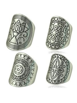 Boho Tibetan Rings Set Antique Silver