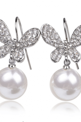 Butterfly Drop Earrings Crystal Accented