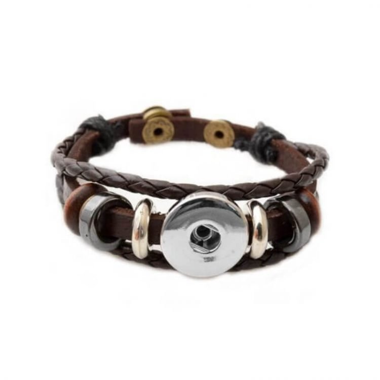 Button Bracelet Multilayer Leather Style