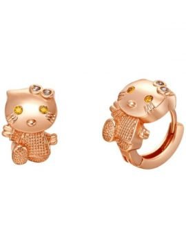 Cat Earrings CZ Diamond Cute Cat Stud