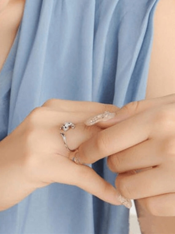 Cat Wrap Ring Cute Kitty Silver Plated