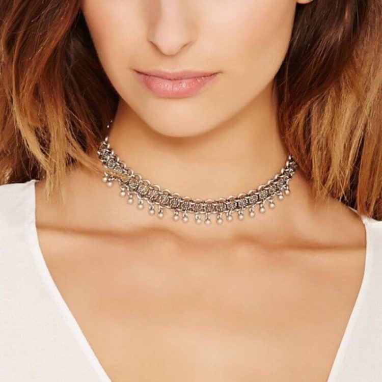 Chain Link Choker Necklace Silver Tone