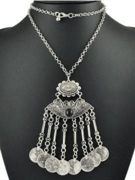 Coin Tassel Necklace Boho Silver Plated
