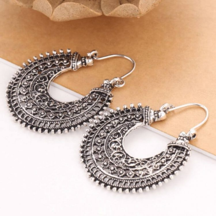 Crescent Earrings Antique Silver Plated