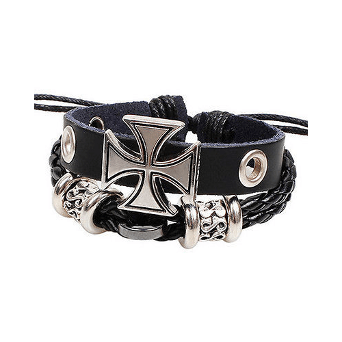 Cross Leather Wristband Braided Bracelet