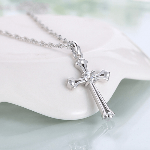 Cross Necklace Crystal Silver Tone Pendant