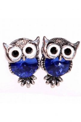 Crystal Owl Earrings White Gold Plated
