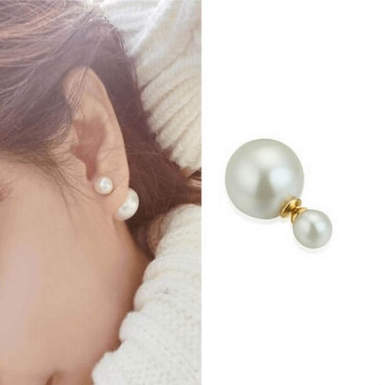Double Ball Stud Earrings Simulated Pearl
