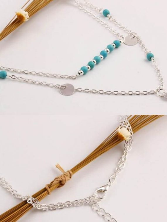 Double Chain Necklace Turquoise Beads