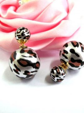 Double Sided Earrings Faux Pearl Stud
