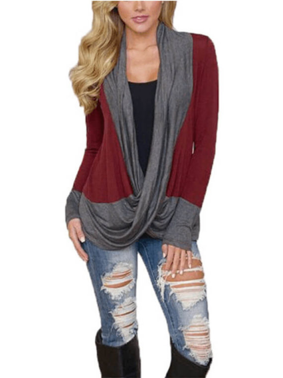 Draped Crossover Top Red Long Sleeve