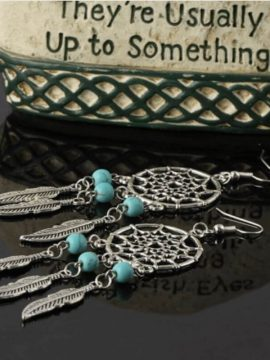 Dream Catcher Earrings Silver Drop Design
