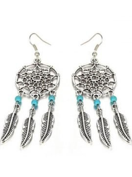 Dream Catcher Earrings Silver Drop Design 3