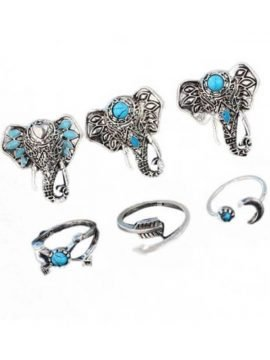 Elephant Ring Set Bohemian Silver Tone