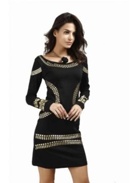 Empire Waist Dress Long Sleeve Round Collar